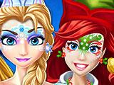 Принцессы Диснея новогодние рисунки на лице