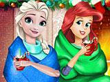 Принцессы Диснея играют в снежки
