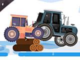 Гонки на тракторах зимой