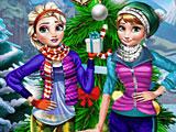 Эльза и Анна зимние праздники