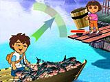 Дора и Диего на рыбалке