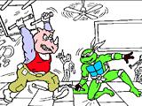 Рисовалки черепашек ниндзя: драка в кафе