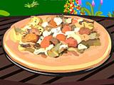 Пицца и сковородка грибов