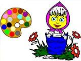 Раскраски: Маша в цветах