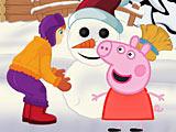 Свинка Пеппа лепит снеговика