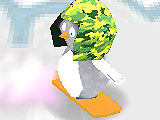 Пингвин на сноуборде 3Д