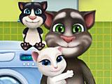 Семья Тома стирает одежду
