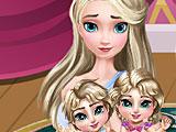 Эльза ухаживает за близнецами