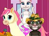 Том и Анжела ухаживают за пони