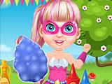 Малышка Барби супергерой готовит сладкую вату