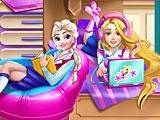 Принцессы Диснея Эльза и Рапунцель в колледже