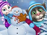 Том играет в снежки