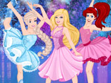 Принцессы Диснея и Барби на коньках