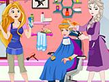 Эльза и Рапунцель убирают в парикмахерской