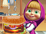 Маша готовит большой бургер