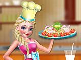 Эльза готовит брокколи с курицей