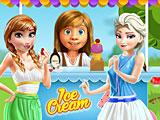 Райли готовит мороженое для принцесс Диснея