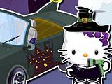 Хелло Китти моет машину на Хэллоуин
