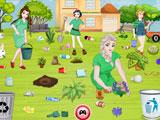 Принцессы Диснея: уборка в саду