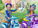 Холодное сердце: Эльза и Анна на скутерах