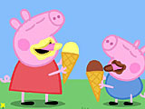 Свинка Пеппа ест мороженое