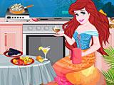 Ариэль убирает на кухне