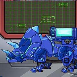 Роботы динозавры приключения: синий Трицератопс