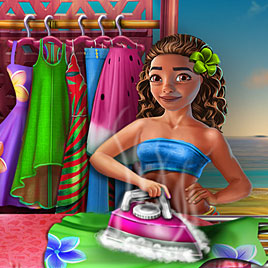 Моана стирает одежду