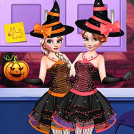 Эльза и Анна готовят Хэллоуин торт