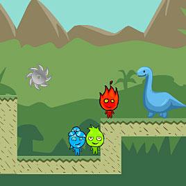 Игра Огонь и Вода на троих: война динозавров - играть ...