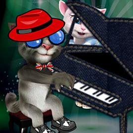 Говорящий Том играет на пианино