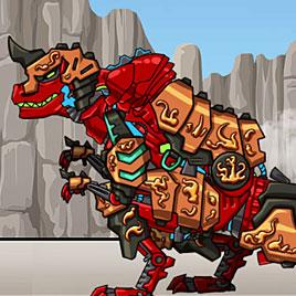 Роботы динозавры: красный динобот трансформер Тираннозавр плюс