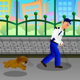 Полицейский Бег От Собаки