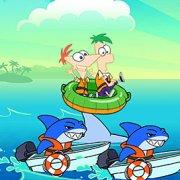 Игра Игра Финес и Ферб: прыгать по акулам