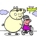 Игра Игра Раскраска Свинка Пеппа на велосипеде