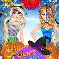 Игра Игра Эльза и Анна Холодное Сердце Готовятся к Хэллоуину