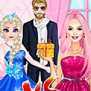 Игра Игра Эльза и Барби соперники в любви